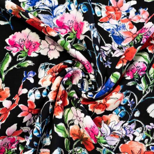 Tissu viscose noir motif pivoine rose rouge et bleue