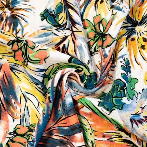 Crêpe de viscose écru imprimé plantes tropicales
