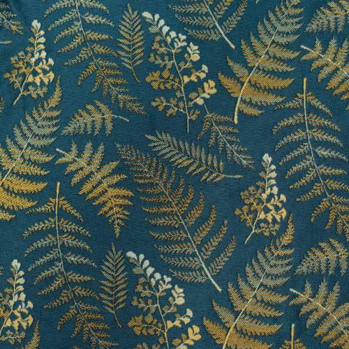 Jacquard bleu canard feuilles et fougères