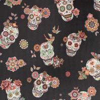 Simili cuir noir motif calavera et fleur