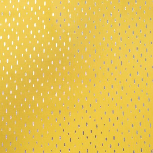 Tissu viscose jaune grain de riz argent
