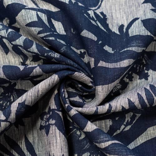 Tissu coton lin écru motif feuilles bleues