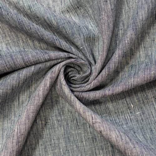 Tissu coton lin écru uni bleu
