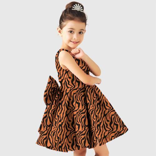 Tissu satiné orange imprimé tigré noir