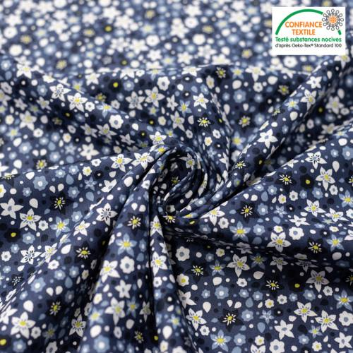 Popeline de coton bleu nuit imprimé fleurs blanches