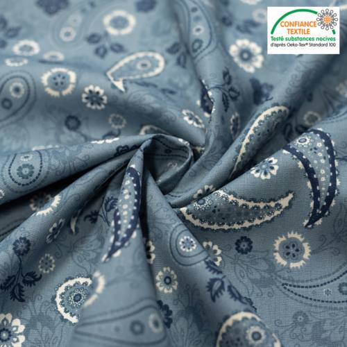 Popeline de coton bleu jean imprimé cachemire