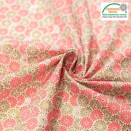 Coton rose imprimé fleur doré brillant