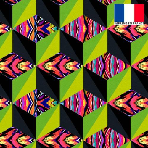 Velours multicolore motif effet 3D vert et jaune