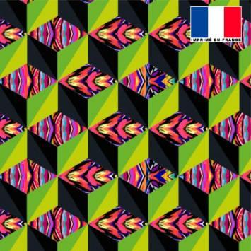 Mousseline multicolore motif effet 3D vert et jaune