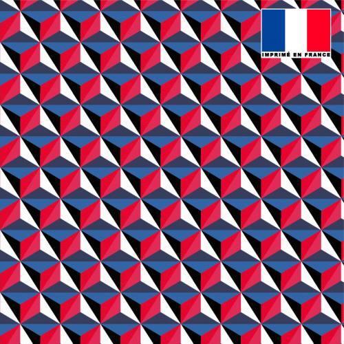 Tissu microfibre imprimé effet 3D bleu et rouge