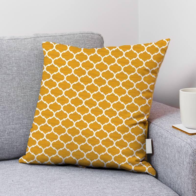 Velours ras jaune imprimé design contemporain écru