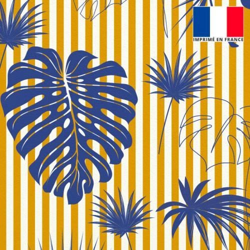 Velours écrue motif palme bleu majorelle à rayures jaunes