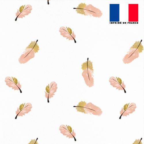 Mousseline crêpe écrue motif plume rose et beige