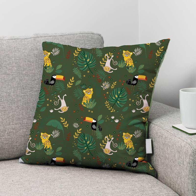 Velours ras vert imprimé animaux de la jungle