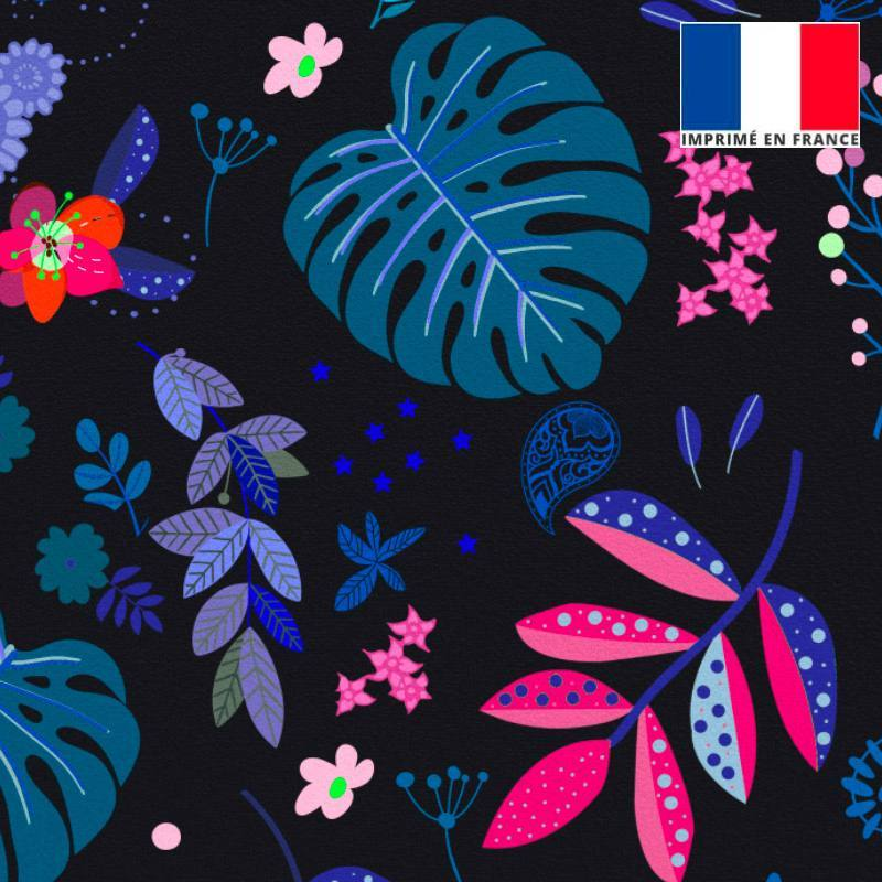 Velours ras noir motif feuilles violettes et bleues