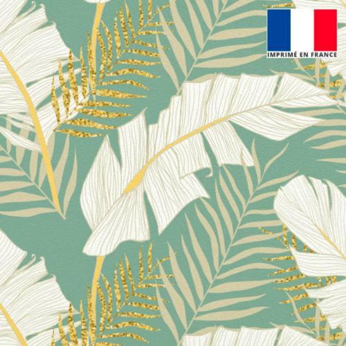 Velours vert d'eau motif feuille de palmier écrue et dorée