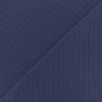 Jersey de coton matelassé bleu foncé