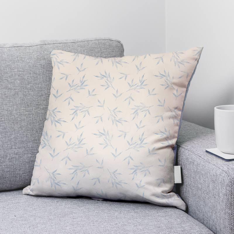 Coton écru motif plante bleue
