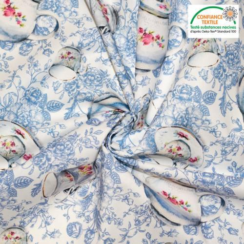 Coton écru motif bleu tasse fleuri