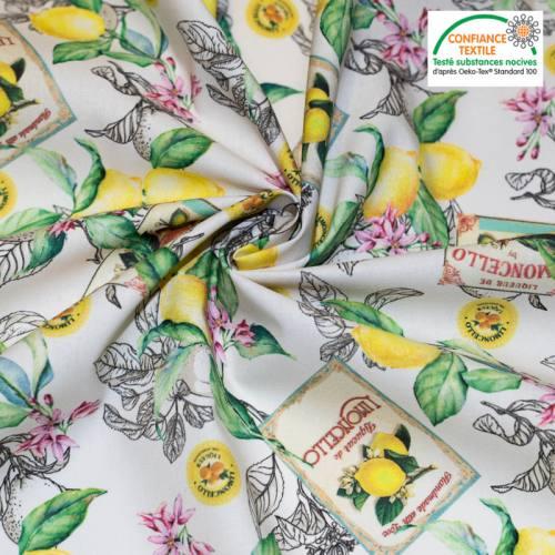 Coton beige motif citron