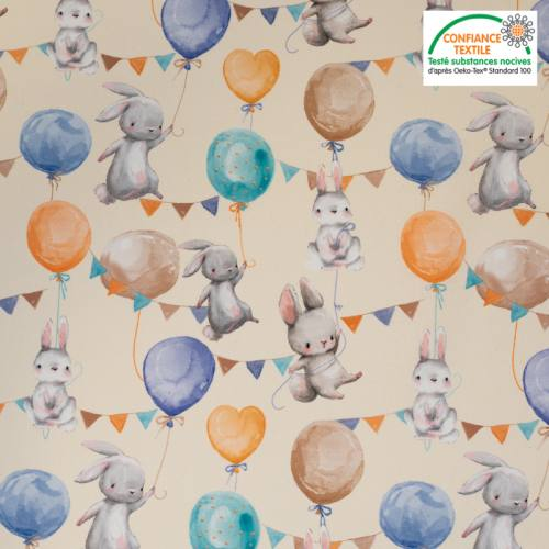Coton bio crème motif lapin et ballon