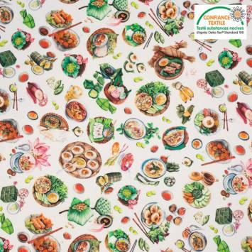 Coton grège motif sashimi
