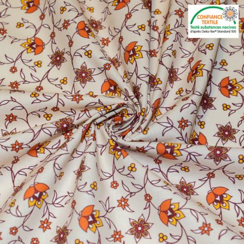 Coton beige motif fleurs orange bastide