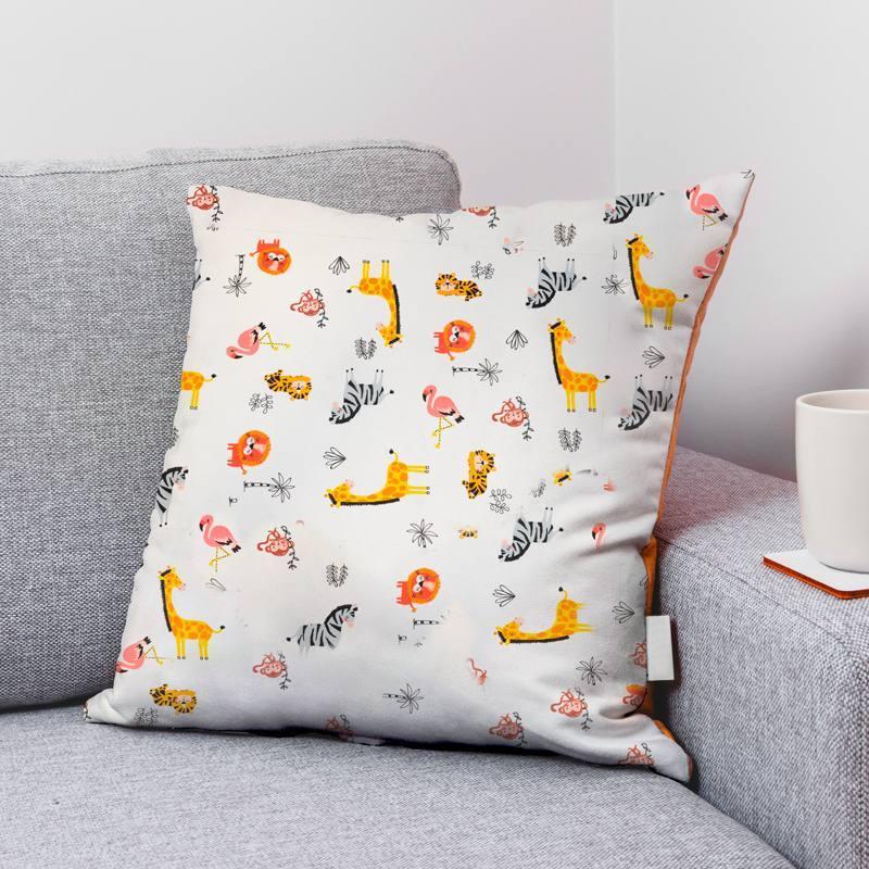 Coton bio écru motif girafe singe zèbre Oeko-tex