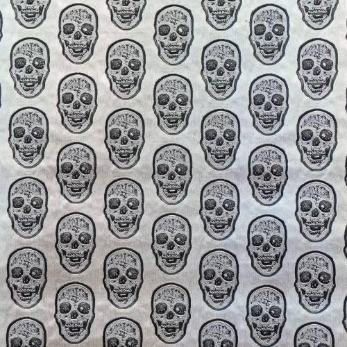coupon - Coupon 50x68cm - Simili cuir argenté tête de mort