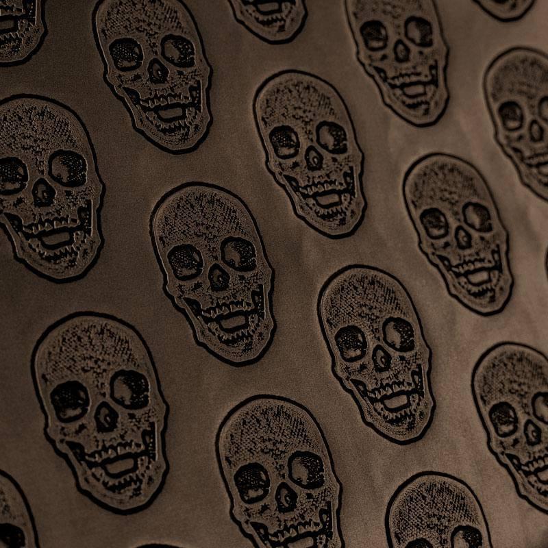 coupon - Coupon 50x68cm - Simili cuir bronze métallisé tête de mort relief