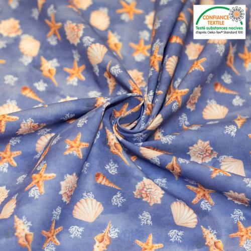 Coton bleu majorelle motif coquillages