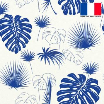 Tissu occultant écru motif feuille de palmier bleu majorelle