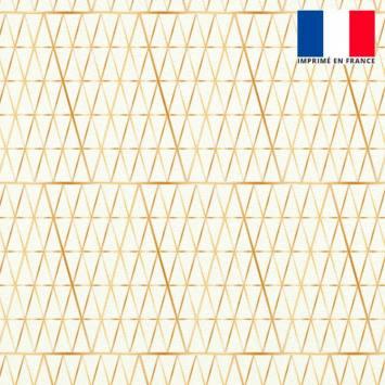 Velours ras écru motif petit triangle losange doré