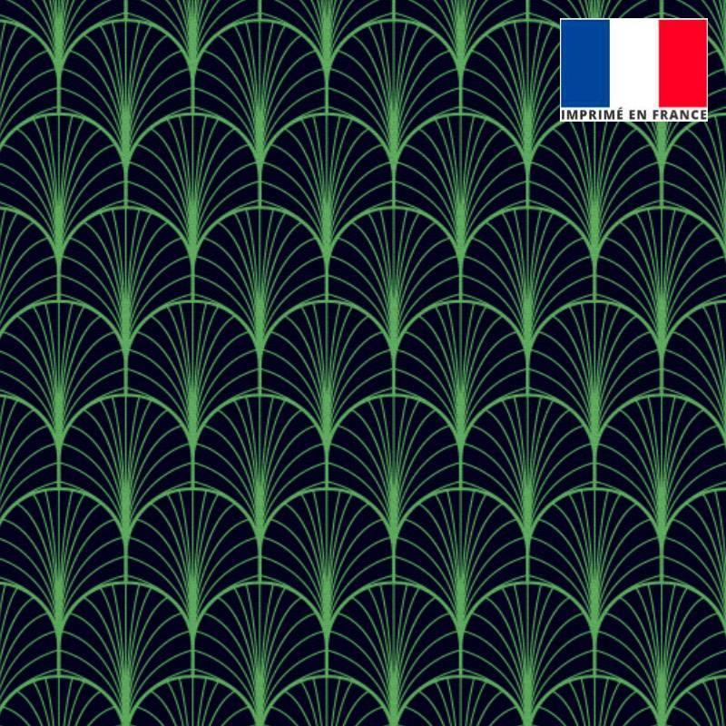 Velours ras bleu nuit imprimé écaille vert