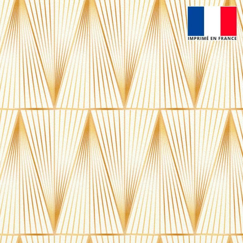 Velours ras écru motif grand triangle quadrillage doré