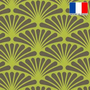 Velours ras vert lime motif éventail pétale grise
