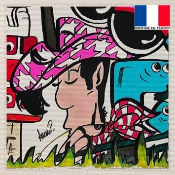 Coupon toile canvas violet cowboy - Création Anne-Sophie Dozoul