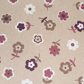Toile polycoton beige motif fleur violette et marron