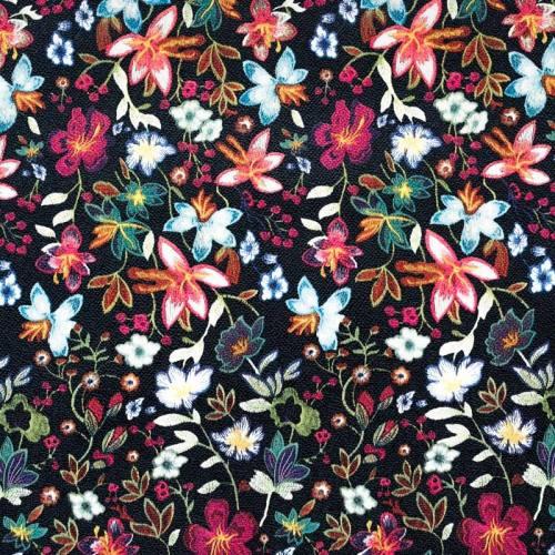 Coupon 50x68cm - Simili cuir noir motif fleurs des champs multicolores