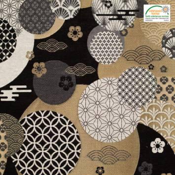 coupon - Coupon 50cm - Jacquard motif Dorayaki noir et or