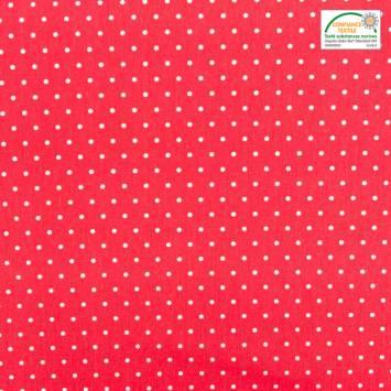 coupon - Coupon 85cm - Coton cretonne rouge pois blanc