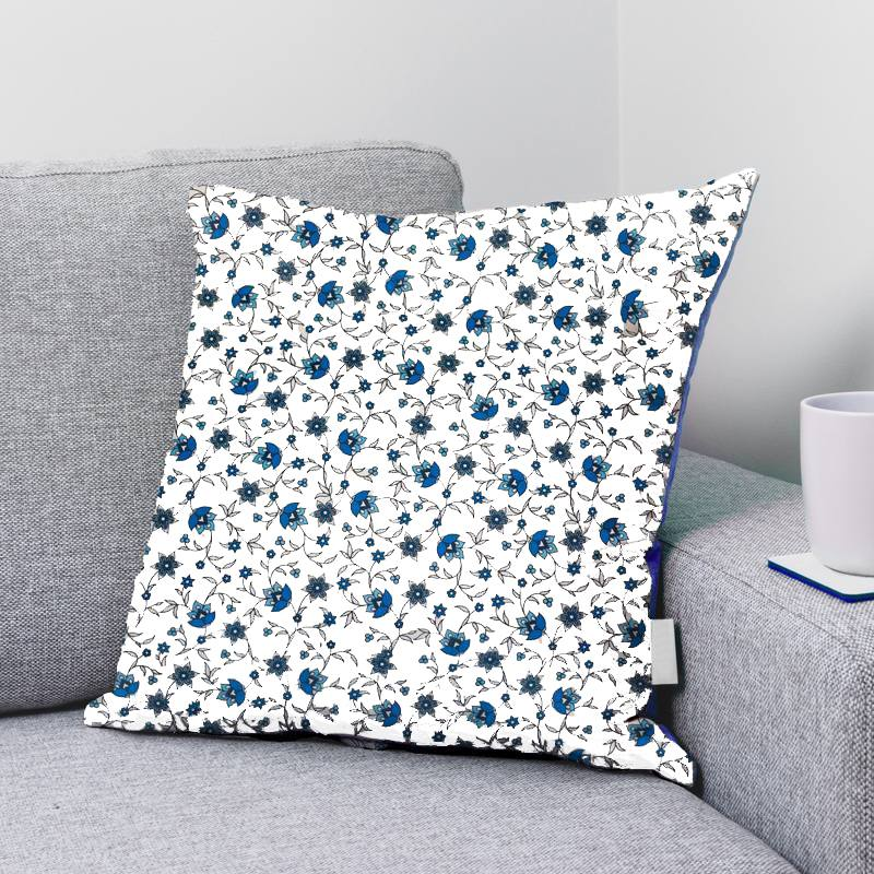 Coton blanc motif fleurs bleues bastide