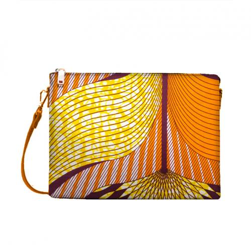 coupon - Coupon 25cm - Wax - Tissu africain motif orange, rose, jaune et prune 431