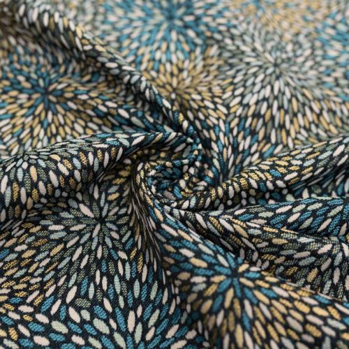 coupon - Coupon 40cm - Jacquard noir motif étincelle bleue et or