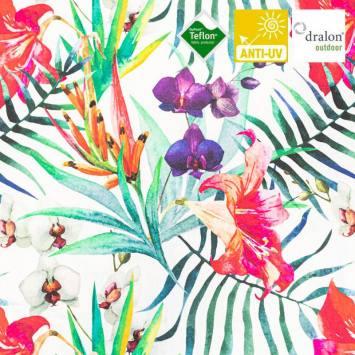 Toile extérieure Téflon écrue motif orchidée blanche