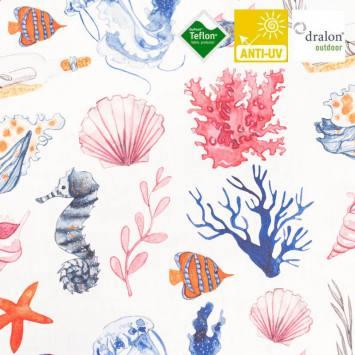 Toile transat imprimée coquillage et corail