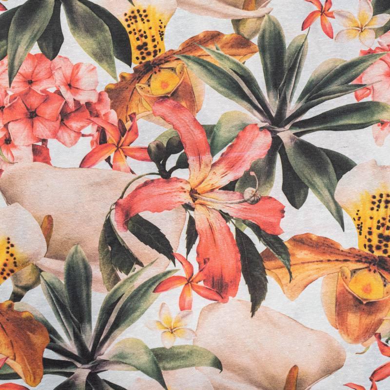 Toile polycoton grande largeur imprimée lys rose
