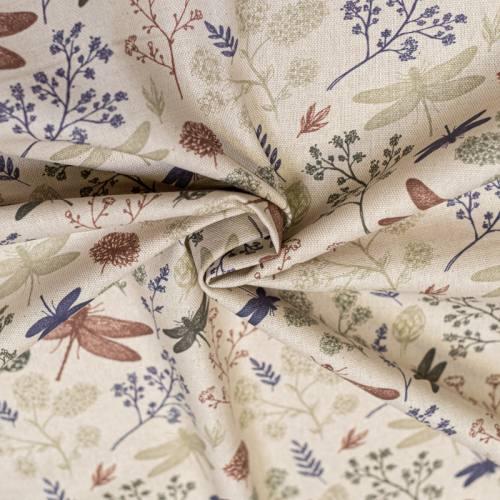 Toile coton aspect lin imprimée branche et libellule vert indigo et marron