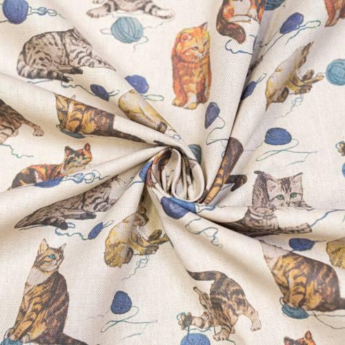 Toile polycoton beige motif chaton et pelote de laine bleue Oeko-tex