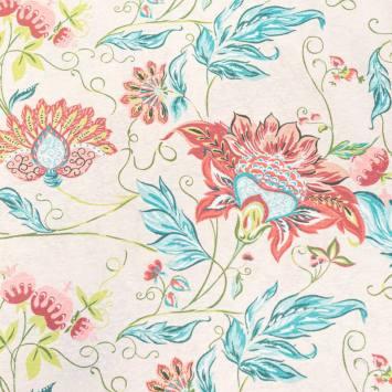 Toile polycoton grande largeur crème imprimée fleur tropicale verte et rose